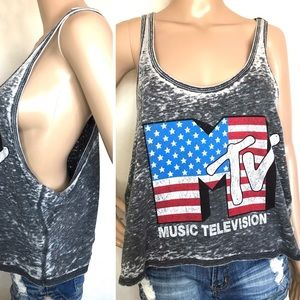 Tops - MTV Vintage Crop Muscle Top Size Large